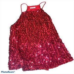 RED SPARKLE SEQUENCE TANK TOP, SIZE SMALL